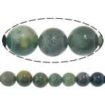 Luonnollinen Moss akaatti helmet, Pyöreä, 8mm, Reikä:N. 1mm, Pituus:N. 15.5 tuuma, 10säikeet/erä, N. 49PC/Strand, Myymät erä