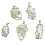 Freshwater Pearl Pendants Cultured Freshwater Nucleated Pearl with Rhinestone   Brass Nuggets natural with rhinestone white 12.8-21x23.8-30.5x6.5-11.2mm Hole:Approx 4x5mm 10PCs/Lot