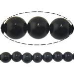 Black Stone Beads, Ronde, natuurlijk, 14mm, Gat:Ca 1.2-1.4mm, Lengte:Ca 15 inch, 10strengen/Lot, Ca 27pC's/Strand, Verkocht door Lot