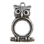 Zinc Alloy Pendant Rhinestone Setting, Owl, antique silver color plated, lead & cadmium free, 32x18.50x6.50mm, Hole:Approx 2.5mm, Approx 190PCs/KG, Sold By KG