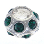 Rhinestone European Beads Zinc Alloy Drum without troll   with rhinestone 11x7mm Hole:Approx 5mm 10PCs/Bag