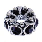 Rhinestone European Beads, Zinc Alloy, Tube, without troll & with rhinestone, 14x8mm, Hole:Approx 5mm, 10PCs/Bag, Sold By Bag