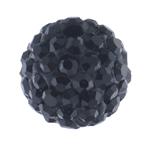 Rhinestone Clay Pave Beads, Round, with rhinestone, Jet, 10mm, Hole:Approx 2mm, 10PCs/Bag, Sold By Bag