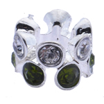 Rhinestone European Beads Zinc Alloy without troll   with rhinestone 7x10mm Hole:Approx 5mm 10PCs/Bag
