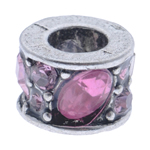 Rhinestone European Beads, Zinc Alloy, Column, without troll & with rhinestone, 10x7mm, Hole:Approx 5mm, 10PCs/Bag, Sold By Bag