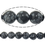 Natural Snowflake Obsidian Beads, Round, imported, 8mm, Hole:Approx 1mm, Length:Approx 15 Inch, 10Strands/Lot, Approx 46PCs/Strand, Sold By Lot