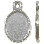 Zinc Alloy Pendant Cabochon Setting, Oval, antique silver color plated, nickel, lead & cadmium free, 15x10x2mm, Hole:Approx 2mm, Inner Diameter:Approx 10x8mm, 3300PCs/KG, Sold By KG