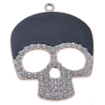 Zinc Alloy Skull Pendants, KC gold color plated, with rhinestone, black, nickel, lead & cadmium free, 54x41x4mm, Hole:Approx 3mm, Sold By PC