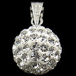 Rhinestone Pendant, Round, different size for choice & with rhinestone, white, 10PCs/Bag, Sold By Bag
