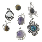 Mixed Gemstone Pendants, with Brass, plated, with rhinestone, 26-31x20-44x7-10mm, Hole:Approx 4x6mm, 20PCs/Lot, Sold By Lot