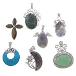 Mixed Gemstone Pendants, with Brass, plated, with rhinestone, 18-43x32-45x5-10mm, Hole:Approx 4x6mm, 10PCs/Lot, Sold By Lot
