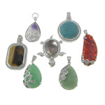 Mixed Gemstone Pendants, with brass setting, platinum color plated, nickel, lead & cadmium free, 24-37x37-50x8-15mm, Hole:Approx 4x6mm, 10PCs/Lot, Sold by Lot