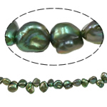 Reborn Cultured Freshwater Pearl Beads, green, 6-8mm, Hole:Approx 0.8mm, Sold Per 15.7 Inch Strand