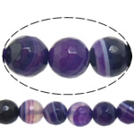 Natural Purple Agate Beads, Round, machine faceted & stripe, 12mm, Hole:Approx 1-1.5mm, Length:15 Inch, 5Strands/Lot, Sold By Lot