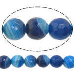 Natural Blue Agate Beads, Round, machine faceted & stripe, 14mm, Hole:Approx 1-1.5mm, Length:15 Inch, 5Strands/Lot, Sold By Lot