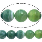 Natural Green Agate Beads, Round, machine faceted & stripe, 12mm, Hole:Approx 1-1.5mm, Length:Approx 15 Inch, 5Strands/Lot, Sold By Lot