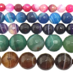 Agate Beads, Mixed Agate, Round, faceted & stripe, mixed colors, 14mm, Hole:Approx 1-1.5mm, Length:15 Inch, 5Strands/Lot, Sold By Lot
