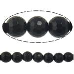 Black Stone Beads, Ronde, gefacetteerde, 12mm, Gat:Ca 1.2mm, Lengte:Ca 15 inch, 10strengen/Lot, Ca 32pC's/Strand, Verkocht door Lot