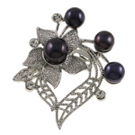 Freshwater Pearl Brooch, with Brass, Heart, with rhinestone, black, 46x49x16mm, Sold By PC