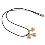 Natural Freshwater Pearl Necklace with Rubber brass clasp Round pink 9-10mm Sold Per 17 Inch Strand