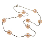Freshwater Pearl Brass Necklace, with Brass, Oval, natural, pink, 9-10mm, Sold Per 19.5 Inch Strand