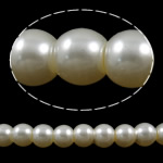 Glass Pearl Beads, Glas, Rund, beige, 6mm, Hål:Ca 1-1.5mm, Längd:32.3 inch, 10Strands/Bag, Säljs av Bag