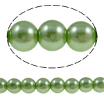 Glass Pearl Beads, Round, green, 10mm, Hole:Approx 1-1.5mm, Length:Approx 30.7 Inch, 10Strands/Bag, Sold By Bag