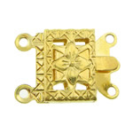 Brass Box Clasp, Rectangle, gold color plated, 2-strand, nickel, lead & cadmium free, 10x7x2.50mm, Hole:Approx 1mm, 300PCs/Bag, Sold By Bag