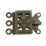 Brass Box Clasp, Rectangle, antique bronze color plated, 3-strand, nickel, lead & cadmium free, 10x7x2.50mm, Hole:Approx 1mm, 200PCs/Bag, Sold By Bag