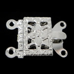 Brass Box Clasp, Rectangle, platinum color plated, 2-strand, nickel, lead & cadmium free, 10x7x2.50mm, Hole:Approx 1mm, 300PCs/Bag, Sold By Bag