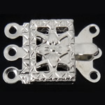 Brass Box Clasp, Rectangle, platinum color plated, 3-strand, nickel, lead & cadmium free, 10x7x2.50mm, Hole:Approx 1mm, 200PCs/Bag, Sold By Bag