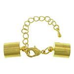 Brass Lobster Claw Cord Clasp, gold color plated, with end cap, nickel, lead & cadmium free, 42mm, 6x12x3mm, 9x13mm, Hole:Approx 8.5mm, 100Sets/Lot, Sold By Lot