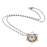 925 Sterling Silver Pearl Necklace, Freshwater Pearl, with 925 Sterling Silver, brass clasp, Flower, natural, white, 10-11mm, 24x27mm, Sold Per 16.5 Inch Strand