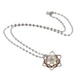 Srebrny naszyjnik z perłami, Perła naturalna słodkowodna, ze Srebro 925, Mosiądz zapięcie, Kwiat, Naturalne, biały, 10-11mm, 24x27mm, sprzedawane na 16.5 cal Strand
