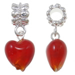 Lampwork European Pendants, Zinc Alloy, Heart, platinum color plated, red, nickel, lead & cadmium free, 27x12x9mm, Hole:Approx 5mm, 10PCs/Bag, Sold By Bag