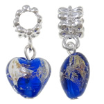 Lampwork European Pendants, Zinc Alloy, Heart, platinum color plated, blue, nickel, lead & cadmium free, 27.50x13x9mm, Hole:Approx 5mm, 10PCs/Bag, Sold By Bag