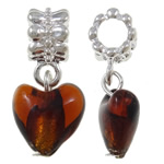 Lampwork European Pendants, Zinc Alloy, Heart, platinum color plated, brown, nickel, lead & cadmium free, 27x12x9mm, Hole:Approx 5mm, 10PCs/Bag, Sold By Bag