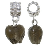 Lampwork European Pendants, Zinc Alloy, Heart, platinum color plated, grey, nickel, lead & cadmium free, 28x12.50x8.50mm, Hole:Approx 5mm, 10PCs/Bag, Sold By Bag