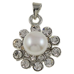 Freshwater Pearl Pendants with Rhinestone   Brass Flower natural with rhinestone white nickel lead   cadmium free 19x24x10mm Hole:Approx 3x4.5mm