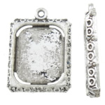 Zinc Alloy Pendant Cabochon Setting, Rectangle, antique silver color plated, nickel, lead & cadmium free, 18x25x3mm, Hole:Approx 2mm, Inner Diameter:Approx 14x16mm, Approx 333PCs/KG, Sold By KG