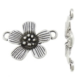 Flower Zinc Alloy Connector, antique silver color plated, 1/1 loop, nickel, lead & cadmium free, 29x22x3.50mm, Hole:Approx 3mm, Approx 400PCs/KG, Sold By KG