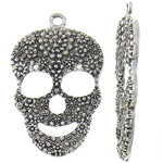 Zinc Alloy Skull Pendants, antique silver color plated, nickel, lead & cadmium free, 30x48x4.20mm, Hole:Approx 3.2mm, Approx 142PCs/KG, Sold By KG