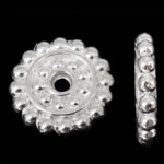 Zinc Alloy Spacer Beads Flat Round silver color plated nickel lead   cadmium free 14x14x2mm Hole:Approx 2mm Approx 666PCs/KG