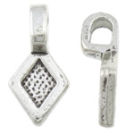 Zinc Alloy Glue on Bail, Rhombus, antique silver color plated, nickel, lead & cadmium free, 8x16x2mm, Hole:Approx 2.5x3.5mm, Approx 1176PCs/KG, Sold By KG