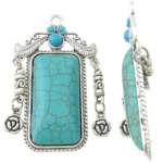 Turquoise Pendant, Rectangle, antique silver color plated, green, lead & cadmium free, 39x63x7mm, Hole:Approx 3.5mm, Sold By PC