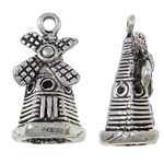 Character Shaped Zinc Alloy Pendants, Building, antique silver color plated, nickel, lead & cadmium free, 18.50x10x8mm, Hole:Approx 1mm, Approx 470PCs/KG, Sold By KG