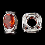 925 Sterling Silver European Beads, Tube, without troll, real silver plated, with cubic zirconia, reddish orange, 10.50x10.50x6.20mm, Hole:Approx 4.7mm, 3PCs/Bag, Sold by Bag