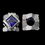 925 Sterling Silver European Beads, without troll, real silver plated, with cubic zirconia, deep blue, 10x10x8.50mm, Hole:Approx 4.5mm, 3PCs/Bag, Sold by Bag
