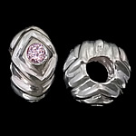 925 Sterling Silver European Beads, Rondelle, real silver plated, without troll & with cubic zirconia, light pink, 12.50x7mm, Hole:Approx 5.2mm, 3PCs/Bag, Sold By Bag