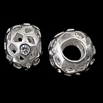 925 Sterling Silver European Beads, Rondelle, hollow design, without troll, real silver plated, with cubic zirconia, 12.50x9mm, Hole:Approx 4.8mm, 3PCs/Bag, Sold by Bag